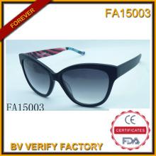 Armature matérielle d'acétate avec lunettes de soleil Polaroid Lens (FA15003)