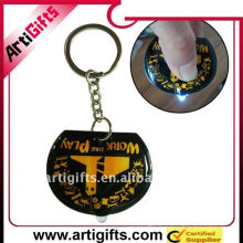 Promotion gifts rubber pvc led keychain with metal split ring