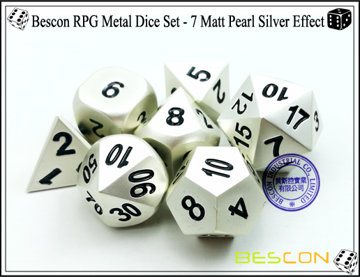 Bescon RPG Metal Dice Set - 7 Matt Pearl Silver Effect-5