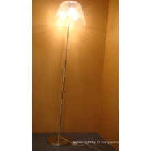 Lampe de plancher en verre de haute qualité en nickel satiné
