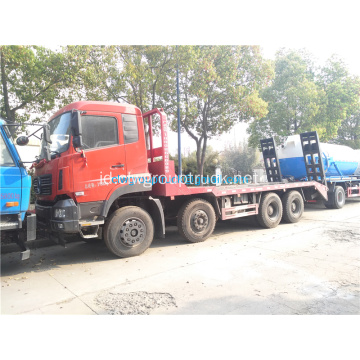 Dongfeng 8x4 flatbed truk pengangkut excavator