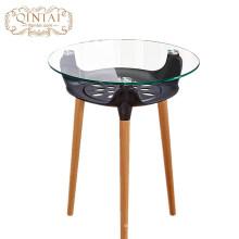 Оптовая торговля Китай Alibaba мебель круглый стеклянный пластиковый корзина для хранения древесины столовая кафе закуски открытый садовый столик