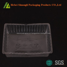 Bandeja de bolo de plástico transparente descartável