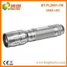 Factory Supply Adjustable Focus Zoom Silver Aluminum Metal 1*aa Cell powered 1w led Kids Mini Flashlight