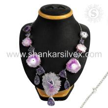 Gleaming druzy,snake rotail handmade 925 sterling gemstone silver jewelry wholesale supplier
