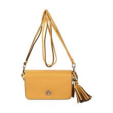 Lemon Yellow Fashion Summer Shoulder Bag / Leather Tassel Crossbody Bag For Girls