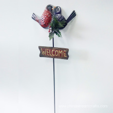 A Pair Of Lovebirds Metal Garden Stake
