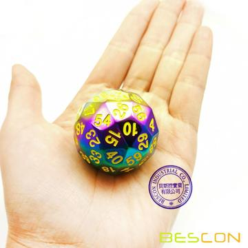 Bescon New Fantasy Iridescent Solid Metal 60 Sides Dice, Rainbow Metallic D60