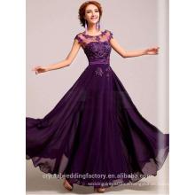 Alibaba Elegante Applique Long Nuevo Diseñador O Cuello Mano Perlas Encaje Beach Evening Dresses O vestido de dama de honor LE14