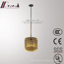 Lampe pendante cylindrique en cristal d'acier inoxydable décorative moderne d'hôtel