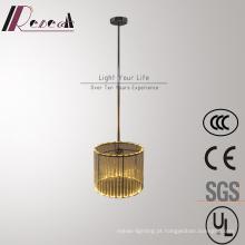 Lâmpada de pendente de cristal cilíndrica de aço inoxidável decorativa do hotel moderno