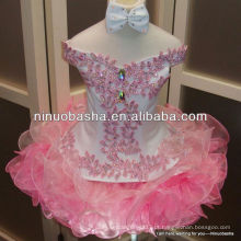 NW-339 Hot Fix Rhinestone Top Organza saia Flower Girl Dress