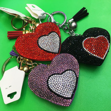 Heart Pendant Multicolor Rhinestone Leather Fringed Keychain
