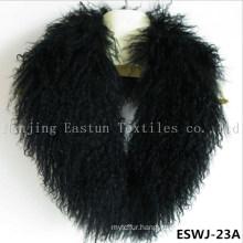 Long Pile Natural Mongolian Fur Scarf Eswj-23A