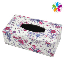 Moda Rectangle Flower Design Leather Tissue Box (ZJH081)