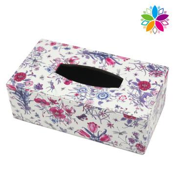Moda Rectangle Flower Design Leather Tissue Box (ZJH081)