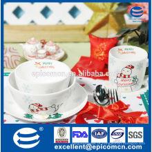Presente de Natal para crianças decoração de porcelana de santa conjunto de jantar