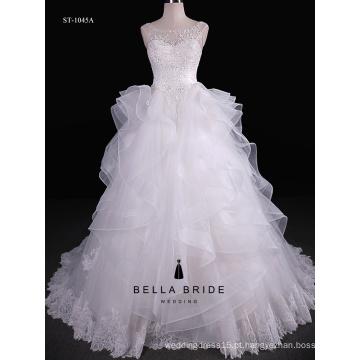 Clássico, camadas sólidas, doce, bowknot, princesa, bola, vestido, casamento, vestido