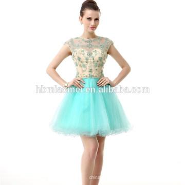 Elegante sem mangas Backless Lace frisada curto vestido de noite Chiffon