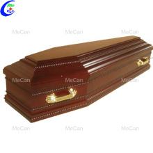 Caixão funerário de metal e caixão de madeira