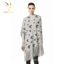 Senhoras quente crânio Design Merino Cashmere Poncho com tassel