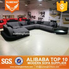 Foshan Shunde usine moderne plus populaire tissu canapé set dessins avec led lumière