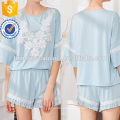 Ruffle Sleeve Lace Applique Top & Shorts Set Manufacture Wholesale Fashion Women Apparel (TA4072SS)