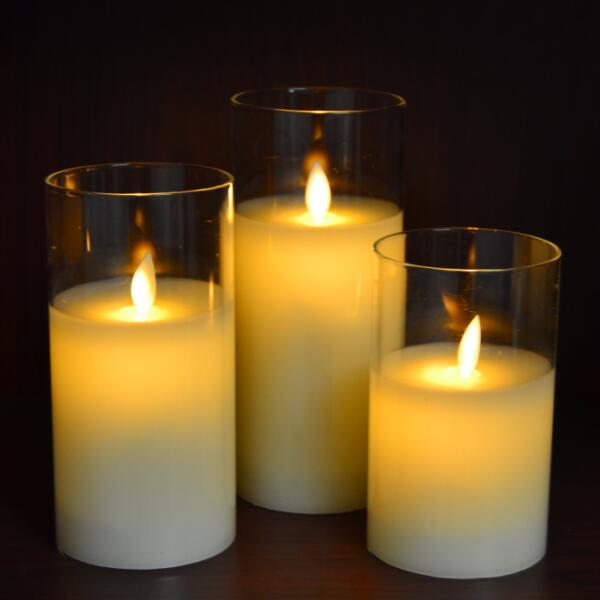 glass led candles moving wick