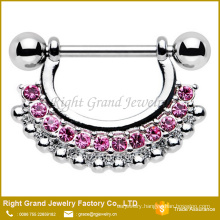 316L Surgical Steel Clear Pink Multi Rhinestone Nipple Shield Ring