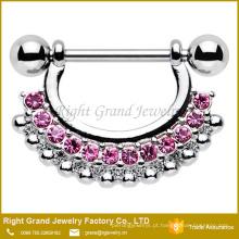 Anel cor-de-rosa claro de aço cirúrgico do escudo do bocal do cristal de rocha 316L multi