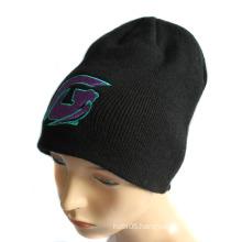 100% Acrylic Flat Embroidery Logo Beanie Winter Hat