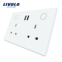 Livolo Standard Toughened Glass 13A Double UK Socket with USB Charger VL-W2C2UKU-11