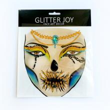 Halloween Glitter Rhinestone Crystal Diamond Face Tattoo Temporary Jewel Art Sticker Happy Game Double Face Sticker