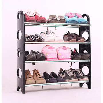 Made of Metal and Black Plastic 4-Layered Shoe Rack
