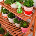 3 Tier Neutral Wood Plant Flower Pot Holder Standing Shelves Garden Display Rack