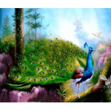 Ручная роспись павлиньей живописи маслом на холсте (EAN-111)