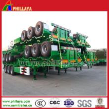20FT 40FT Skelett / flache Bett Auflieger für den Transport von Containern