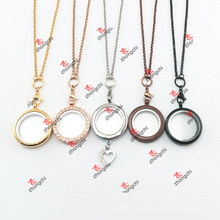 Mode Alliage Rond Locket Charms Chain Necklace Cadeaux (CNG60103)