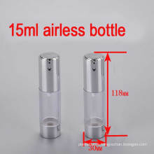 15ml Shiny Silver Plastic Airless Lotion Pump Bottle for Cosmetic