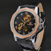 Automatic Mens Leather Band Casual wrist watches