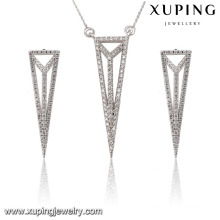 63845 Fashion Elegant CZ Diamond Rhodium Triangle-forme en alliage de cuivre imitation bijoux ensemble