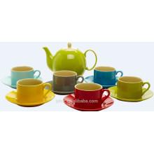 Satz von 7 bunten chinesischen Keramik Steingut Tee-Set