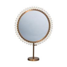 Sunburst Round Standing Espejo de vanidad enmarcado con acabado en latón dorado antiguo