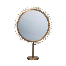 Sunburst Round Standing Framed Vanity Mirror with Antique Gold Brass Finish