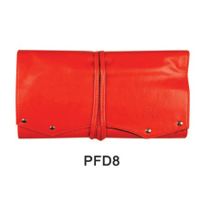 Red PU leather makeup kit hand tied case