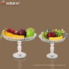 high quality pure crystal fruit plate round and rectangular crystal fruit plate with stand