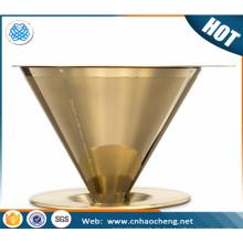 Edelstahl 304 titanbeschichtete Goldfarbe gießen über Kaffee Dripper / Kegel Kaffeefilter