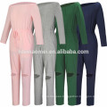 Pure Color Bodycon Sexy Sweat Suit High Waist Off Shoulder Women Casual Jumpsuits