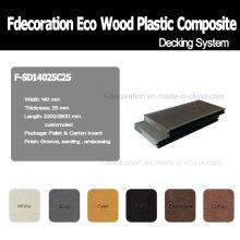 Revestimento exterior plástico de madeira do Decking WPC de Eco