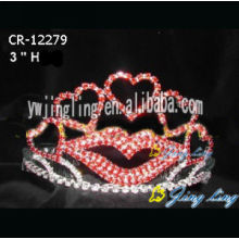 Venta al por mayor Rhinestone Heart Pageant Valentine's Day Crown